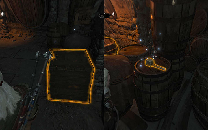 The items that you are looking for are in the locations shown in the above screenshot - the Barrel tap is in the crate at the ground level, whereas the Wooden hammer lies on one of the upright barrels - Wine is Sacred - Main quests - The Witcher 3: Blood and Wine Game Guide