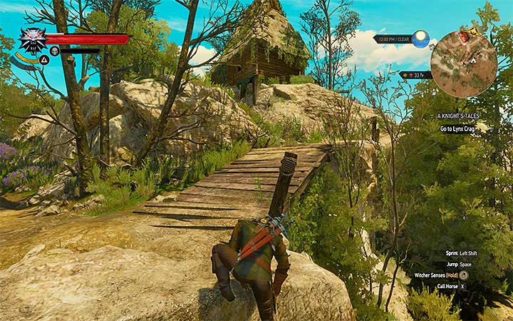 In order to reach the hut, you will need to employ a little climbing - A Knights Tales - quest of a girl turned into a tree - Side quests - The Witcher 3: Blood and Wine Game Guide