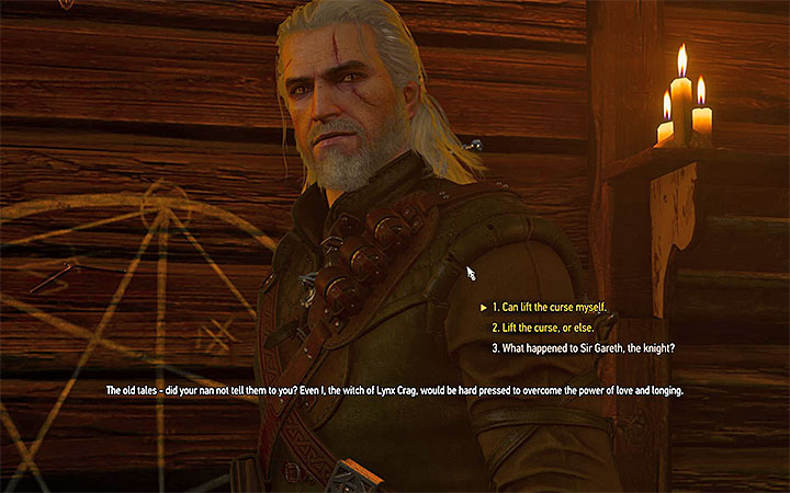 You can try to lift the curse yourself. You can ask the witch to do this, or coerce her to do this. - A Knights Tales - quest of a girl turned into a tree - Side quests - The Witcher 3: Blood and Wine Game Guide