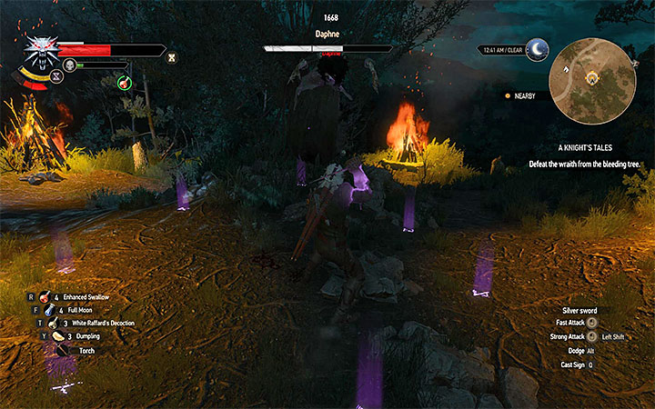 Attack Daphne when she is inside the Yrden circle - A Knights Tales - quest of a girl turned into a tree - Side quests - The Witcher 3: Blood and Wine Game Guide
