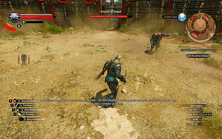 Attack Gregoire after his unsuccessful attacks which end in his sword hitting the ground - The Warble of a Smitten Knight - tourney quest - Side quests - The Witcher 3: Blood and Wine Game Guide