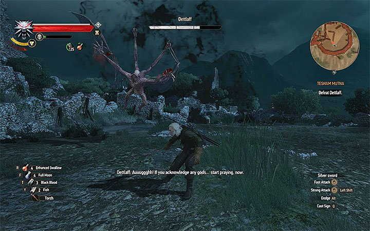 Jump to the sides whenever the boss tries to perform aerial attacks - Tesham Mutna - the final confrontation with Dettlaff - Main quests - The Witcher 3: Blood and Wine Game Guide
