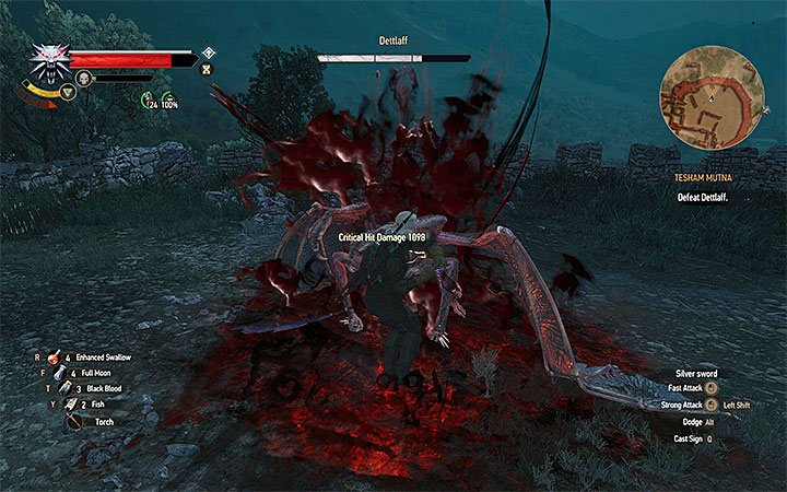 You should attack Dettlaff only when he lands on the arena - an example situation like that is shown on the above picture - Tesham Mutna - the final confrontation with Dettlaff - Main quests - The Witcher 3: Blood and Wine Game Guide
