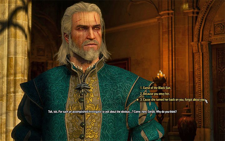 Select third dialogue option and then the second one in order to convince Syanna to reconcile with her sister - Pomp and Strange Circumstance - Main quests - The Witcher 3: Blood and Wine Game Guide