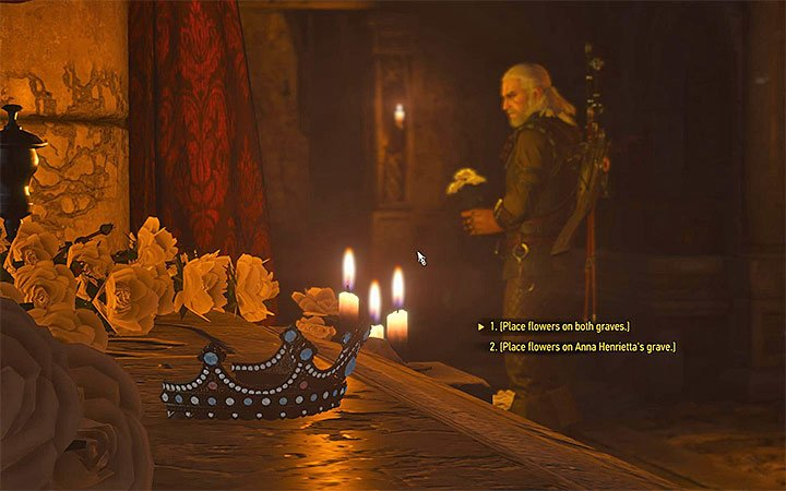You can place the flowers only on Annas grave or on both graves - Pomp and Strange Circumstance - Main quests - The Witcher 3: Blood and Wine Game Guide