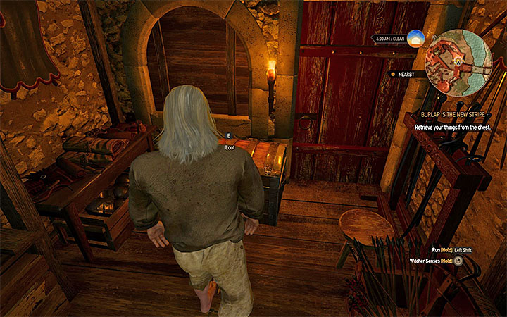 Chest with Geralts belongings - Burlap is the New Stripe - Geralt goes to prison quest - Main quests - The Witcher 3: Blood and Wine Game Guide