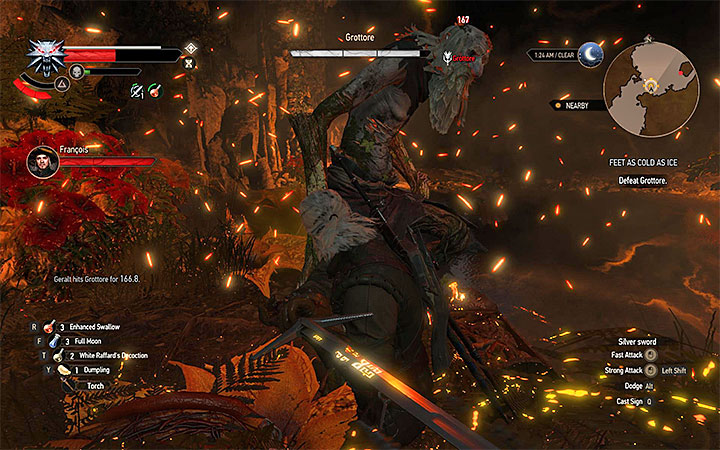Weaken the Grottore between his attacks - Side quests and Witcher contracts opponents in The Witcher 3: Blood and Wine - All Boss Fights - The Witcher 3: Blood and Wine Game Guide