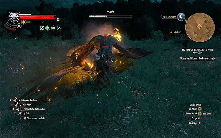 You can burn the basilisk before attacking it with the sword - Side quests and Witcher contracts opponents in The Witcher 3: Blood and Wine - All Boss Fights - The Witcher 3: Blood and Wine Game Guide