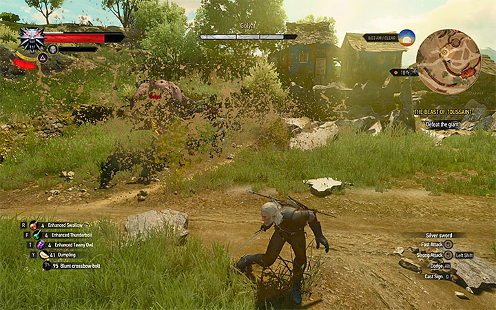Avoid the strongest attacks of the golyat - Main quests bosses in The Witcher 3: Blood and Wine - All Boss Fights - The Witcher 3: Blood and Wine Game Guide