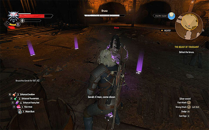 Use Yrden sign, wait for bruxa to appear and attack it whenever the creature is inside the magic circle - Main quests bosses in The Witcher 3: Blood and Wine - All Boss Fights - The Witcher 3: Blood and Wine Game Guide