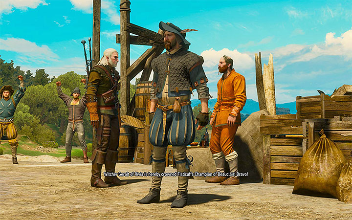 You have to defeat the fist fight champion in Beauclair - There Can Be Only One - Five Trials of Virtue - Side quests - The Witcher 3: Blood and Wine Game Guide