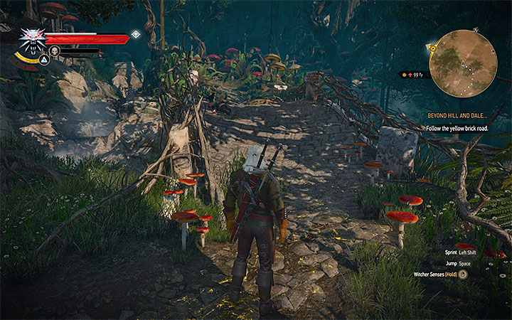 As the objective suggests, you should stick to the brick road - Beyond Hill and Dale... - quest about finding Syanna - Main quests - The Witcher 3: Blood and Wine Game Guide