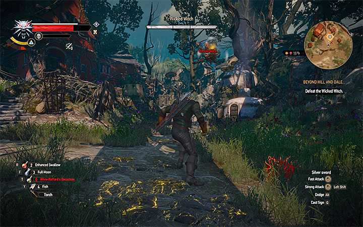 Use crossbow or Aard sign to bring the witch to the ground - Beyond Hill and Dale... - quest about finding Syanna - Main quests - The Witcher 3: Blood and Wine Game Guide