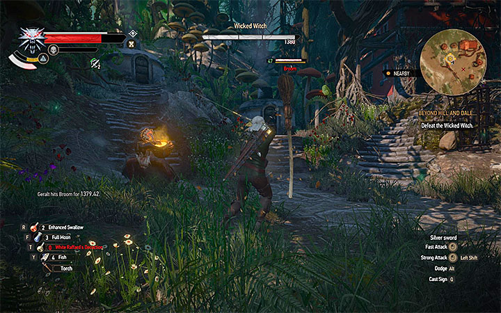 First destroy the broom and only after that focus on attacking the witch - Beyond Hill and Dale... - quest about finding Syanna - Main quests - The Witcher 3: Blood and Wine Game Guide