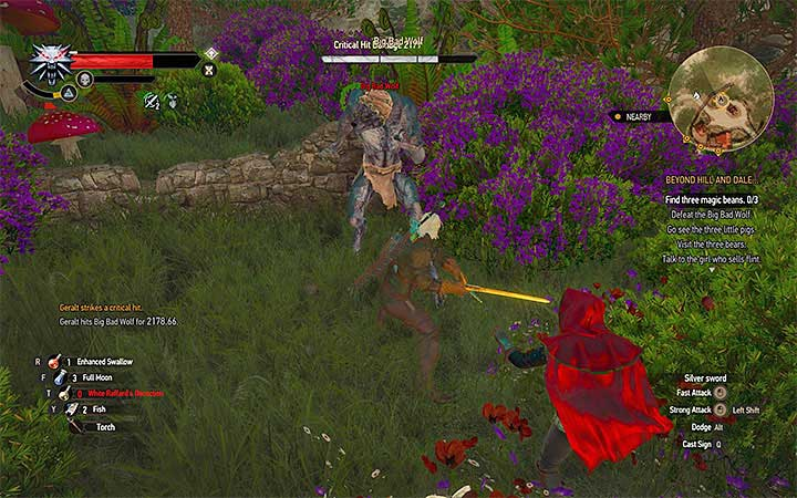 Avoid the attacks of the wolf and attack him with your sword - Beyond Hill and Dale... - quest about finding Syanna - Main quests - The Witcher 3: Blood and Wine Game Guide