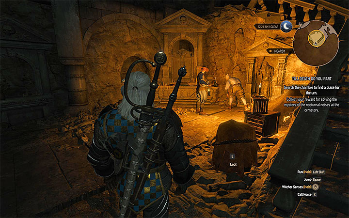 The room in the catacombs where you must leave Louis urn - Till Death Do You Part - Side quests - The Witcher 3: Blood and Wine Game Guide