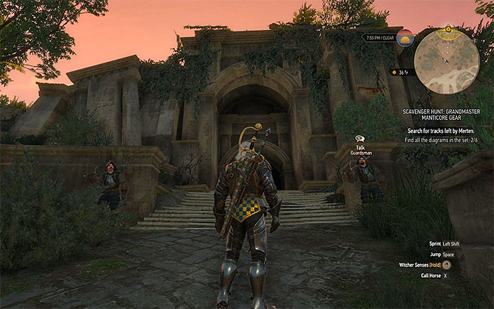 Entrance to Lebiodas temple - Scavenger Hunt: Grandmaster Manticore Gear - diagrams and item statistics - Grandmaster Witcher Gear - quests, diagrams and item statistics - The Witcher 3: Blood and Wine Game Guide