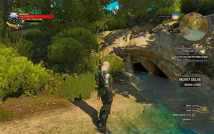 Entrance to the cave - Scavenger Hunt: Grandmaster Manticore Gear - diagrams and item statistics - Grandmaster Witcher Gear - quests, diagrams and item statistics - The Witcher 3: Blood and Wine Game Guide