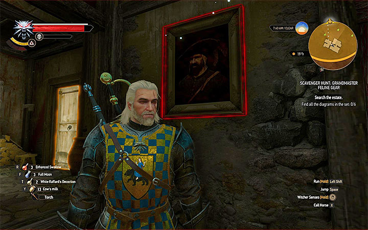 Check one of the paintings - Scavenger Hunt: Grandmaster Feline Gear - diagrams and item statistics - Grandmaster Witcher Gear - quests, diagrams and item statistics - The Witcher 3: Blood and Wine Game Guide