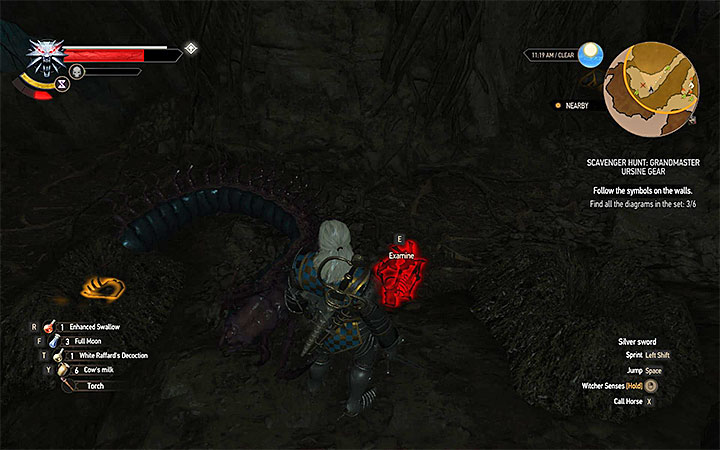 Once you defeat the second giant centipede you should get to the cave with the skeleton of a Witcher shown on the above picture - Scavenger Hunt: Grandmaster Ursine Gear - diagrams and item statistics - Grandmaster Witcher Gear - quests, diagrams and item statistics - The Witcher 3: Blood and Wine Game Guide