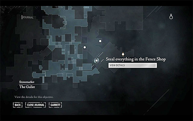 Your destination has been shown in the above screenshot - it is located in the [Stonemarket - Barons Way South] district, which you can reach, among others, by crossing the Southern part of the City center - Taking a Fence - Jobs - Basso - Thief - Game Guide and Walkthrough