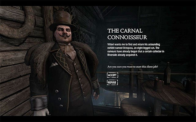 The mission accepting window - The Carnal Connoisseur - Client Jobs - Vittori - Thief - Game Guide and Walkthrough