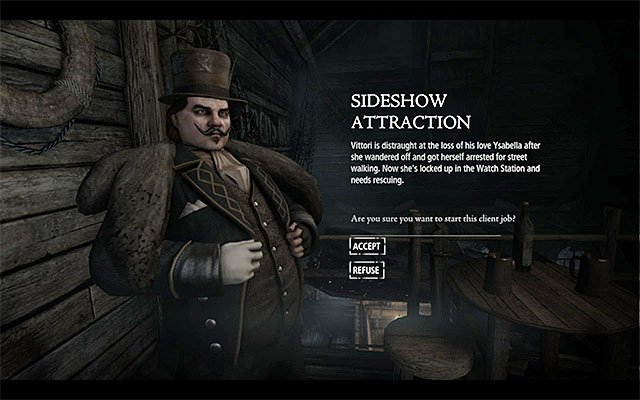 The mission accept window - Sideshow Attraction - Client Jobs - Vittori - Thief - Game Guide and Walkthrough
