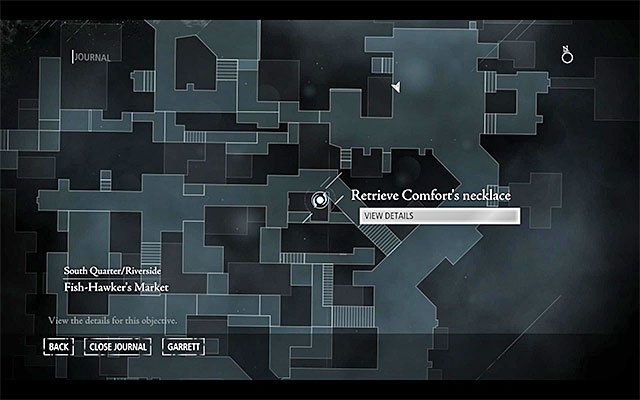 Your destination has been shown in the above screenshot - it is located in the central part of the South Quarter, in [South Quarter / Riverside - Skinmarket] - Fit for a Queen - Jobs - Basso - Thief - Game Guide and Walkthrough