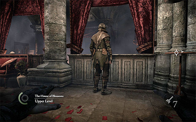 The guard stops at the door and at the balustrade, in turns - Explore the brothels second floor - Chapter 3: Dirty Secrets - Thief - Game Guide and Walkthrough