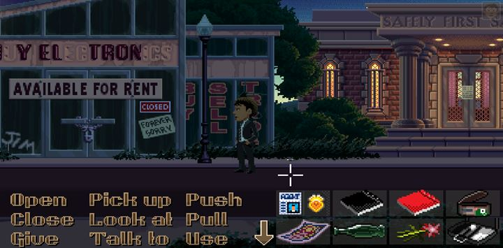 You will find Dime next to the blinking lantern - you can easily miss it on the ground. - Part 1 - The meeting / Part 2 - The Body | Walkthrough - Walkthrough - Thimbleweed Park Game Guide