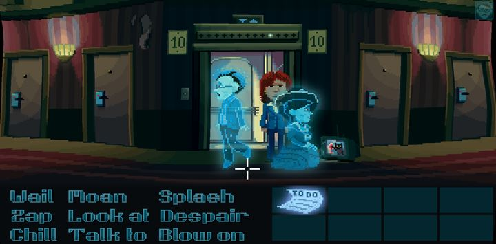 Turn the television on by using Zap and switch to the cat canal. - Part 4 - The Will / Part 5 - The Reading | Walkthrough - Walkthrough - Thimbleweed Park Game Guide