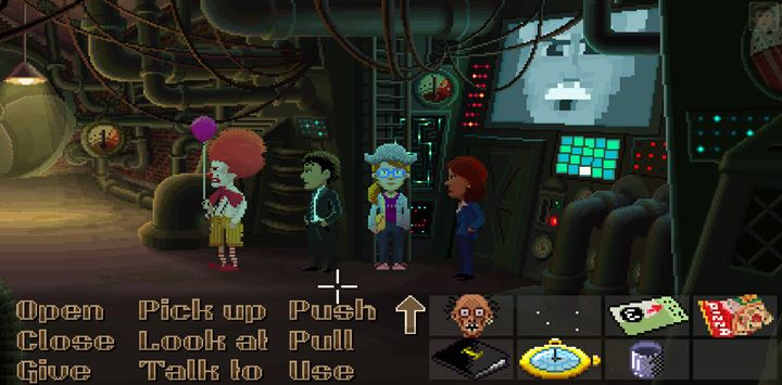 Use the Strange Tool on the slot next to the door in order to walk inside and finish the duel with Uncle Chuck. - Part 8 - The Escape | Walkthrough - Walkthrough - Thimbleweed Park Game Guide