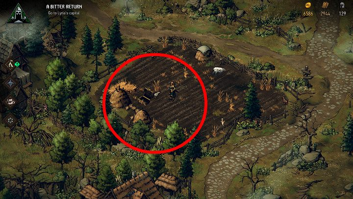 The fourth treasure chest is in the small field (check the area between the two haystacks) - Hidden treasures chests in Lyria | Thronebreaker The Witcher Tales - Maps of hidden treasures - Thronebreaker The Witcher Tales Guide