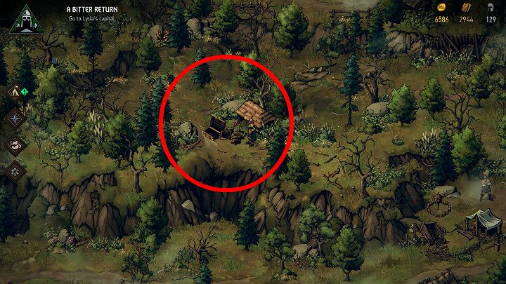 This next chest can be found on a tall hill - Hidden treasures chests in Lyria | Thronebreaker The Witcher Tales - Maps of hidden treasures - Thronebreaker The Witcher Tales Guide