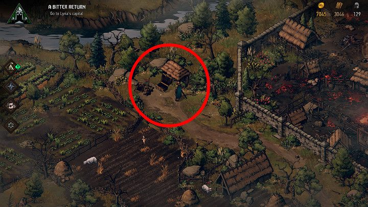 This chest is right behind Lord Claytons ruined mansion - Hidden treasures chests in Lyria | Thronebreaker The Witcher Tales - Maps of hidden treasures - Thronebreaker The Witcher Tales Guide