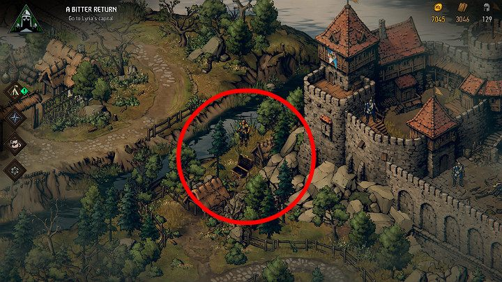 Go around Rastburg castle by moving from the side of the river - Hidden treasures chests in Lyria | Thronebreaker The Witcher Tales - Maps of hidden treasures - Thronebreaker The Witcher Tales Guide