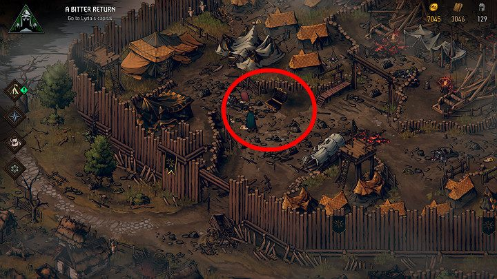 This treasure can be found in the western camp - Hidden treasures chests in Lyria | Thronebreaker The Witcher Tales - Maps of hidden treasures - Thronebreaker The Witcher Tales Guide