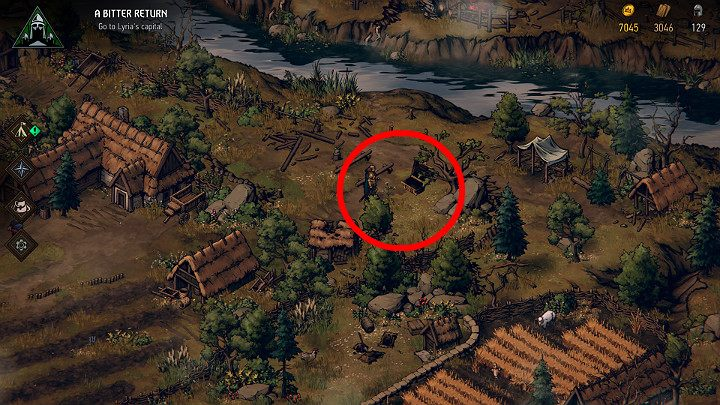 This chest is found near the orchard - you first have to solve the conflict between two families - Hidden treasures chests in Lyria | Thronebreaker The Witcher Tales - Maps of hidden treasures - Thronebreaker The Witcher Tales Guide