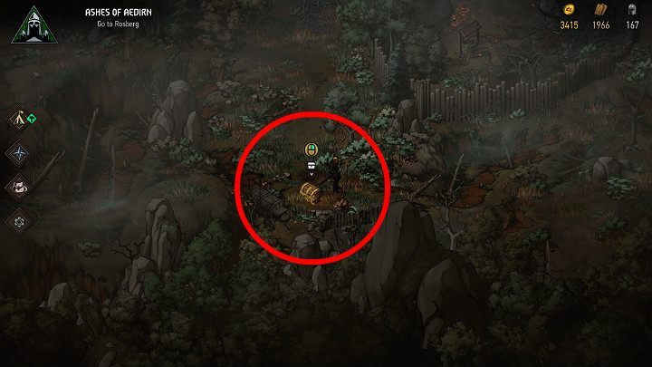 The second treasure chest is located a bit further ahead, near the first larger hamlet - Hidden treasures chests in Aedirn | Thronebreaker The Witcher Tales - Maps of hidden treasures - Thronebreaker The Witcher Tales Guide