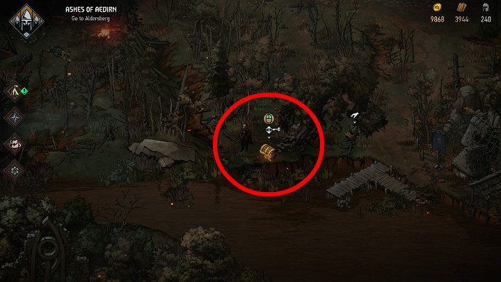 The sixth treasure chest is hidden near the river and locked - Hidden treasures chests in Aedirn | Thronebreaker The Witcher Tales - Maps of hidden treasures - Thronebreaker The Witcher Tales Guide