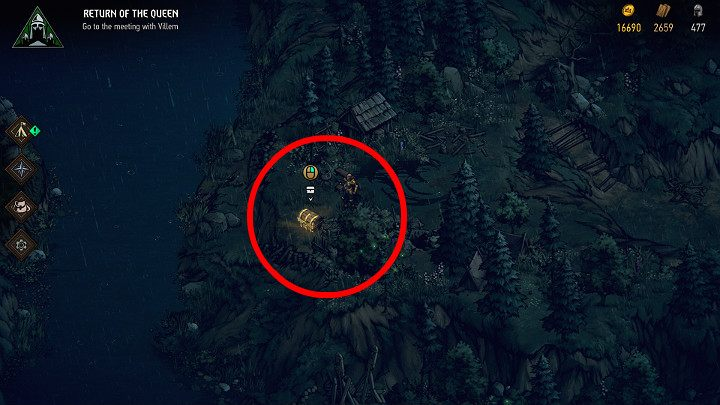 To get the first treasure, youll need to follow the winding road between the trees, which will lead you to a cliff - Hidden treasures chests in Rivia | Thronebreaker The Witcher Tales - Maps of hidden treasures - Thronebreaker The Witcher Tales Guide