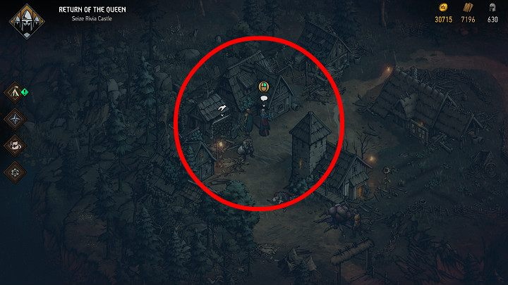 To make things easier, the screenshot above shows the location of the relevant NPC - Hidden treasures chests in Rivia | Thronebreaker The Witcher Tales - Maps of hidden treasures - Thronebreaker The Witcher Tales Guide