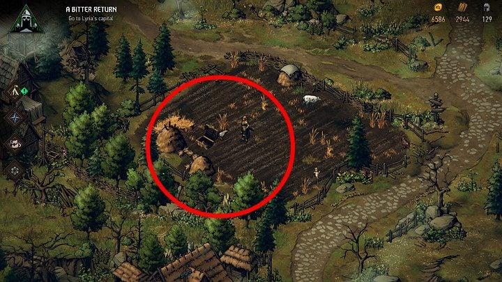 Четвертый сундук с сокровищами находится в небольшом поле (проверьте площадь между двумя стогами сена) - Скрытые сокровища сундуков в Лирии | Thronebreaker The Witcher Tales - Карты скрытых сокровищ - Тронно-разбойник The Witcher Tales Guide