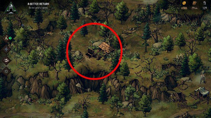 Этот следующий сундук можно найти на высоком холме - Скрытые сокровища сундуков в Лирии | Thronebreaker The Witcher Tales - Карты скрытых сокровищ - Тронно-разбойник The Witcher Tales Guide