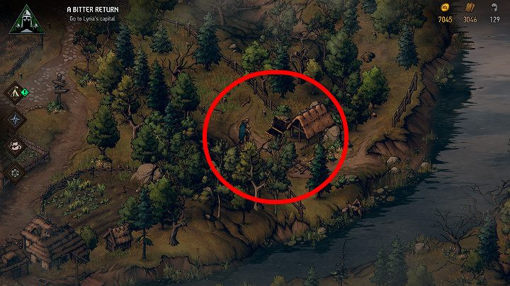 Сундук рядом с Тернифеном, в маленькой роще рядом с рекой - Скрытые сокровища сундуков в Лирии | Thronebreaker The Witcher Tales - Карты скрытых сокровищ - Тронно-разбойник The Witcher Tales Guide