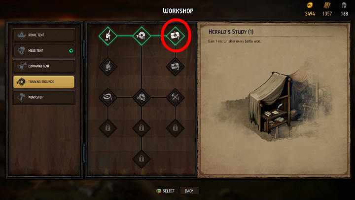 Another way to get more recruits is to extend the training area with an additional option, which will allow you to get 1 recruit after each battle victory - Resources in Thronebreaker The Witcher Tales - General Advice - Thronebreaker The Witcher Tales Guide