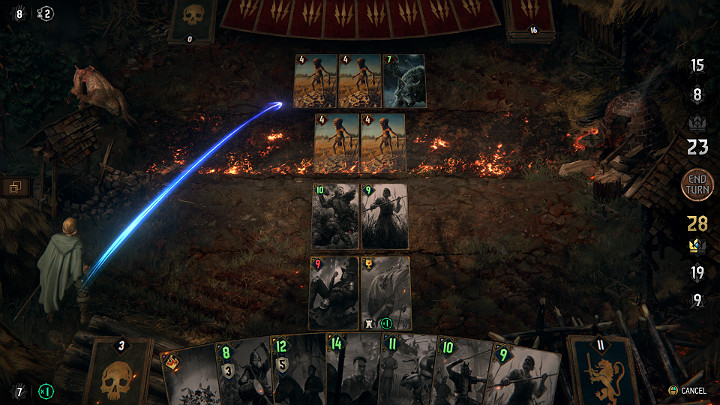 The Fire causes all units in the row covered by this effect to have a 33% chance of taking 2 points of damage at the beginning of the turn - Weather Effects Cards in Thronebreaker The Witcher Tales - Card Deck - Thronebreaker The Witcher Tales Guide