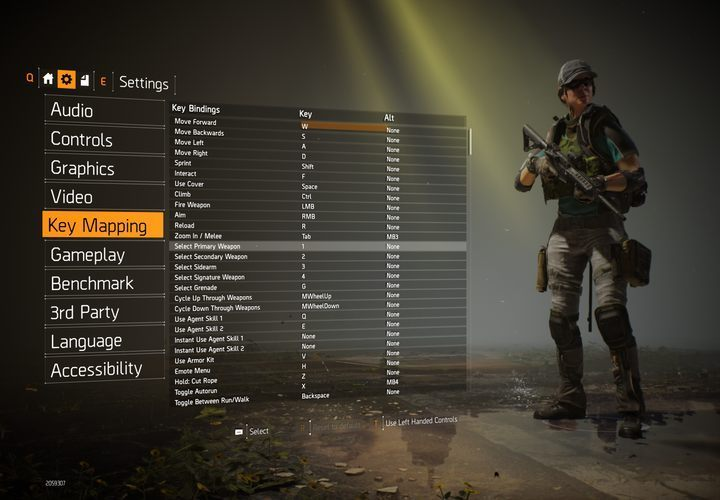 The default controls in the game. - Controls of The Division 2 - Appendix - The Division 2 Guide