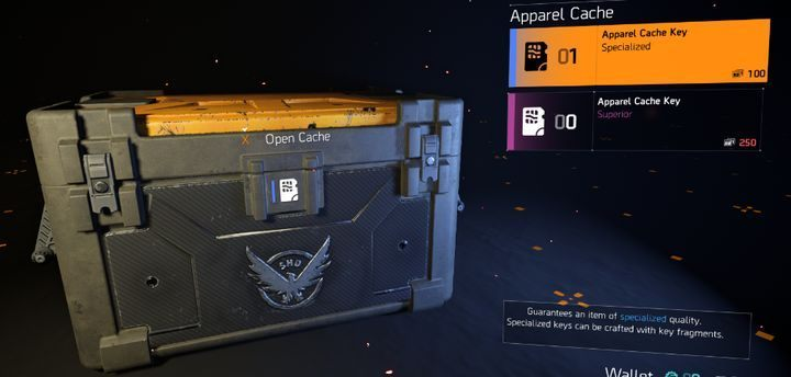 The screen shows boxes that can be opened with keys obtained in quests. - Microtransactions in The Division 2 - Gameplay basics - The Division 2 Guide