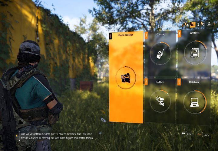 Visit the collectibles screen to take a look at found collectibles. - Where can I look through my collectibles in The Division 2? - FAQ - The Division 2 Guide